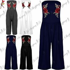Womens Boobtube Palazzo Trouser Rose Embroidery Floral Playsuit All One Jumpsuit