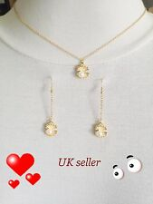 chic delicate dainty golden pearl in sea shell pendant collar chain necklace UK
