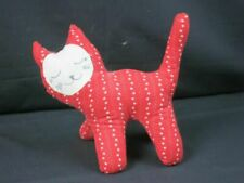 VINTAGE HANDMADE FOLK ART RED WHITE FLOWER SLEEPY KITTY CAT KITTEN PLUSH