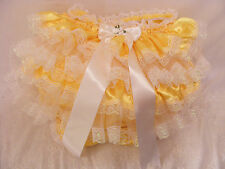 eaa77d4fd ADULT BABY SISSY YELLOW SATIN FRILLY DIAPER COVER PANTIES W/PROOF/LOCKING  ABDL