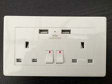 White UK Plug Double USB Socket 13A 2 GANG Electric Wall Sockets W/ 2 USB Outlet