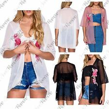 New Womens Floral Embroidered Chiffon Sheer Mesh Kimono Waterfall Cardigan Top