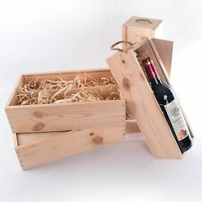 Wine Box with Wood Wool / 1 or 2 Bottles Plain Wooden Gift Case Decoupage Craft