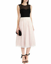 TED BAKER PALE PINK BLACK FLORAL MIDI WEDDING OCCASION DRESS  BNWT 12