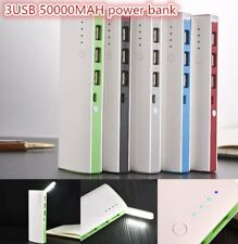 50000mAh 3 USB Backup External Battery Power Bank Pack Charger for Cell #P