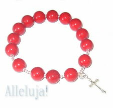 Red / black Rosary beads Bracelet Catholic religious gift 1st communion birthday