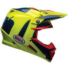 Bell moto-9 Flexible TORNILLO BANCO Azul/Amarillo Moto Todoterreno Mx Casco