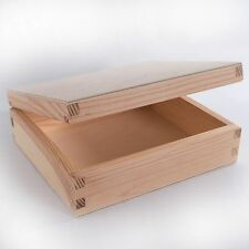 1/2/3x Wooden Plain CD Box Case Holder /Wood Unpainted Storage Boxes for Craft