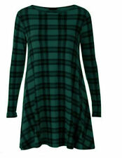 Womens Ladies Printed Long Sleeve Midi A-line Skater Jersey Flared Swing Dress