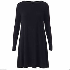 Womens Ladies Plain Long Sleeve Midi A-line Skater Swing Jersey Flared  Dress