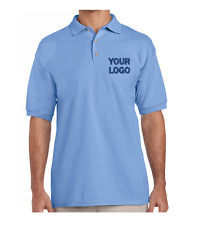 BLUE UNISEX Polo Shirt Embroidered with Your Logo Personalised Custom