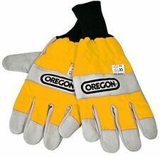 Oregon Chainsaw Protective Gloves - Smooth Leather Hi Vis Glove M - XL 295399