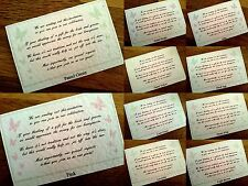Wedding Poem Gift Cards, Money for honeymoon or have your own poem *18 colours*