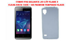 Combo For Reliance Jio Lyf Flame 3- Clear Back Case + HD Premuim Tempered Glass