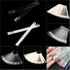 50pcs False Display Nail Art Fan Wheel Polish Practice Tip Sticks Nail Art FF
