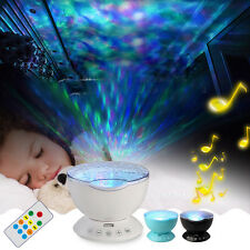 7 Colors LED Night Light with Mini Music Player Home Lamp Ocean Wave Projector