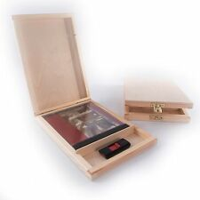 1/2/3x Wooden CD & Pendrive Case / Storage Box with Lid and/or Clasp for Craft