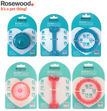 3 PK ROSEWOOD DOG PUPPY BIOSAFE MINT SCENTED TEETHING  DENTAL CHEW TOYS 2 CLRS