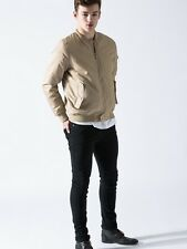 Men's Bomber Jacket in Camel or Brown with Zip Fastening | Sizes S, M, L, XL