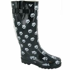 Cotswold Dog Paw Wellington Boots Black or Pink
