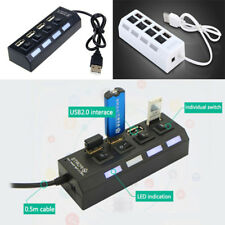 High Speed 4 Port USB2.0 Splitter Individual Switch PC Laptop Adapter LED