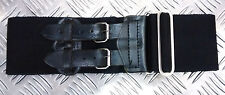 Wide Canvas Black Belt with Double Buckle/ Leather Fasting Adjustable Size Goth