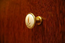 Retro Ceramic Brass Finish  Furniture Kitchen Cupboard Cabinet Pull Handles Knob
