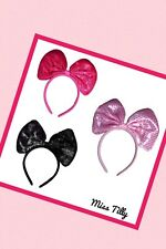 🖤 Large Sequin Bow Headband Sparkly Pink Black Head Band Hair Kids Minnie Mouse