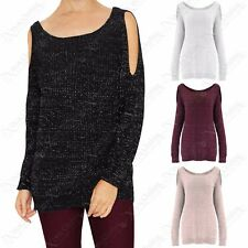 NEW LADIES LUREX KNIT COLD SHOULDER JUMPER WOMENS CUT OUT SLEEVE KNITTED TOP