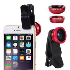 3 In1 Fish Eye Wide Angle Macro Camera Clip-on Lens for Universal Cell Phone