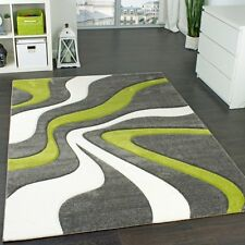 Green White Grey Wave Rug Floor Carpet Hall Runner Area Mat Small Extra Large XL