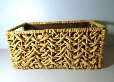 Vintage Woven Wicker Rectangular Shaped Basket - Cloth Lined Interior