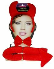 Ladies Devil Accessories Set Halloween Ears, Tie Tail Fancy Dress Party Costumes