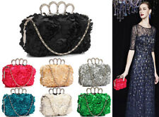 Ladies Handbags Gorgeous Floral Clutch Bag Knuckle Rings Evening Party Prom New