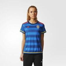 adidas WOMEN'S SWEDEN AWAY PLAYER JERSEY BLUE FOOTBALL SOCCER LADIES SHIRT