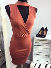 MISSGUIDED Wrap Choker neck ribbed midi dress in rust (M59/3)