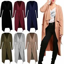Womens Long Sleeve Ladies Wrap Over Pocket Duster Trench Belted Duster Cardigan