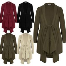 Women Long Sleeve Ladies Waterfall Tie Knot Duster Trench Belted Duster Cardigan