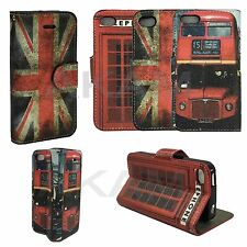 London Theme Design Leather Book Wallet Flip Case Cover With Stand iPhone 8
