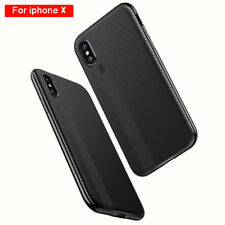 TPU Silicone Cover For iphone X Carbon fiber PC Frame Shockproof Hybrid Case