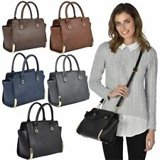 New Ohio Ladies PU Leather Style Handbag Purse Shoulder Tote Bag With Strap