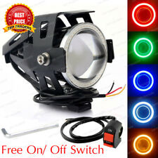 Cree U7 LED Motorcycle Headlight Fog Spot Light Lamp Angle Eyes+Devil Eye 3000LM