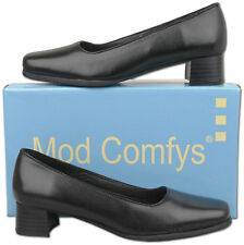 New Womens Black Leather Slip On Court Style Formal Shoes Sizes 3 4 5 6 7 8 9 10
