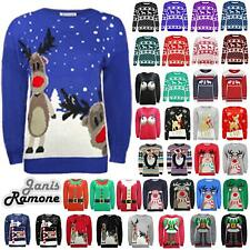 New Unisex Womens Men Christmas Xmas Knitted Vintage Novelty Warm Jumper Sweater