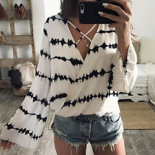 Sexy Women Bandage Blouse 2017 Summer Loose Long Sleeve Stripe Tops Casual