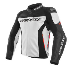 DAINESE Racing 3 BIANCO/Nero / ROSSO MOTO perforati Giacca in pelle
