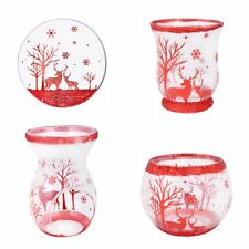 New Village Candle Red Glitter Reindeer Christmas Candle Plate Burner Globe