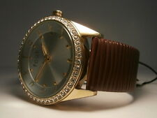 Ladies French Connection FCUK Watch,New Bling Diamante Surround,Leather Strap