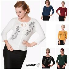 Banned Apparel Women's Clothing Jumpers Vintage Retro Knitwear Delilah Cardigan