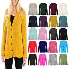 Womens Ladies Long Sleeve Button Top Knitted Grandad Cardigan top plus size 8-20